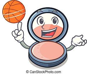 With basketball blush on a cartoon makeup bag