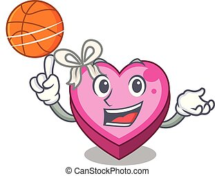 With basketball box heart in shape of mascot vector...