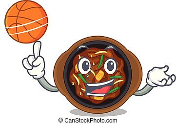 With basketball bulgogi is served on mascot plate vector...
