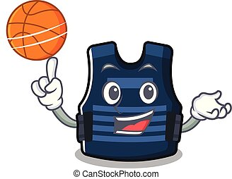 With basketball bulletprof vest isolated in the mascot