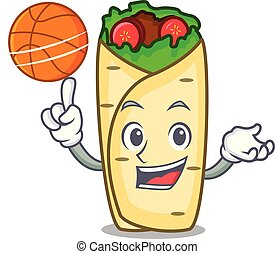 With basketball burrito character cartoon style