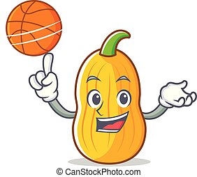 With basketball butternut squash character cartoon vector...