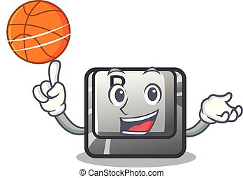With basketball button B installed on cartoon computer...