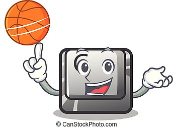 With basketball button C on a keyboard character vector...