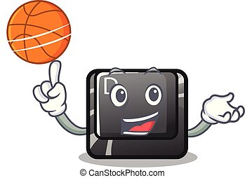 With basketball button D on a computer mascot vector...