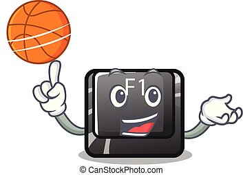 With basketball button f1 isolated in the mascot vector...