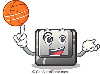 With basketball button G isolated in the cartoon vector...