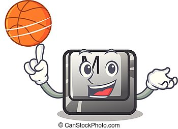 With basketball button M on a keyboard mascot vector...
