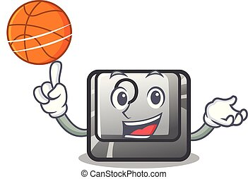 With basketball button O isolated in the cartoon vector...