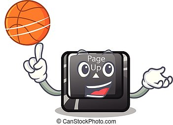 With basketball button page up shape in cartoon vector...