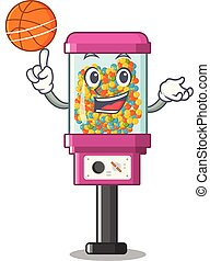 With basketball candy vending machine isolated in mascot...