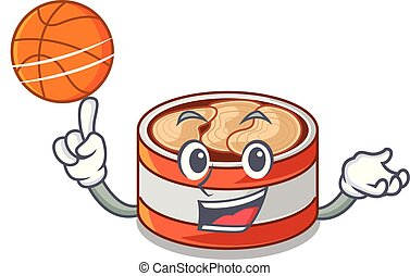 With basketball canned tuna isolated with in mascot vector...