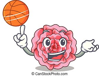 With basketball carnation in the a character pot vector...