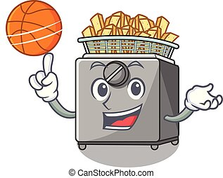 With basketball cartoon deep fryer in the kitchen vector...