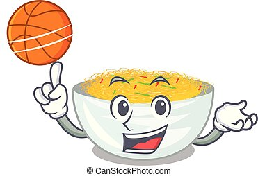 With basketball cartoon fried noodles in a pan vector...