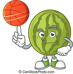 With basketball cartoon watermelon isolated on white...