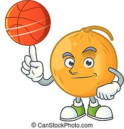 With basketball casaba melon cartoon character with mascot...