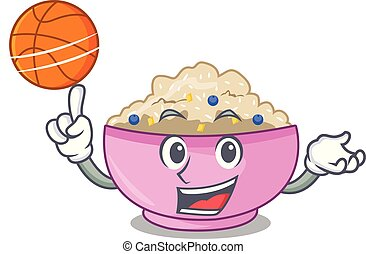 With basketball character a bowl of oatmeal porridge