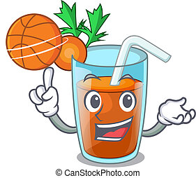 With basketball character healthy carrot smoothie for diet