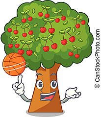 With basketball cherry tree in the cartoon shape vector...