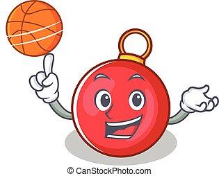 With basketball Christmas ball character cartoon