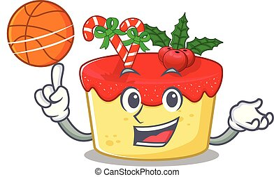 With basketball christmas cake served above cartoon board...