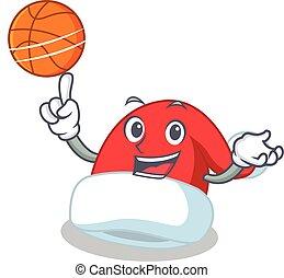 With basketball Christmas hat character cartoon