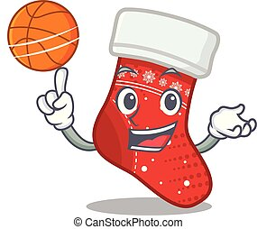 With basketball christmas stocking cartoon folded in...