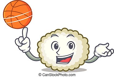 With basketball cotton ball character cartoon