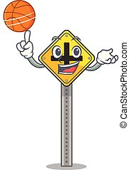 With basketball crossroad sign cartoon shape the mascot...