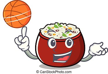 With basketball curd rice served in mascot bowl