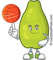 With basketball cute papaya on a white background vector...