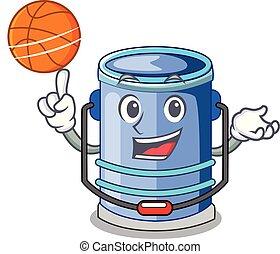 With basketball cylinder bucket Cartoon of for liquid