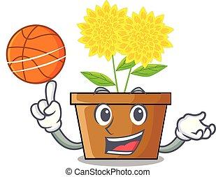 With basketball dahlia flower in the cartoon shape vector...