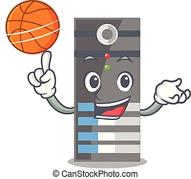 With basketball data server next the cartoon computer vector...