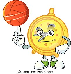 With basketball design alarm clock in cartoon character...
