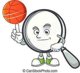 With basketball design magnifying glass cartoon character...