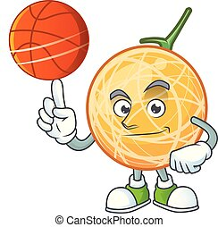 With basketball dessert cantaloupe fruit cartoon with mascot...