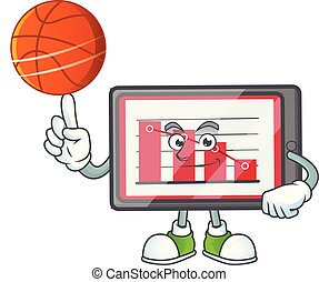 With basketball down chart horizontal table with mascot...