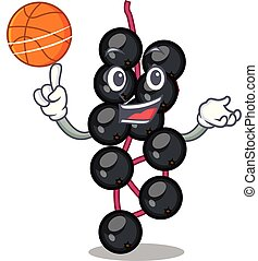 With basketball eldeyberry fruit above wooden table cartoon...