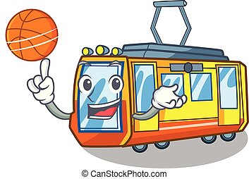 With basketball electric train in the character shape vector...