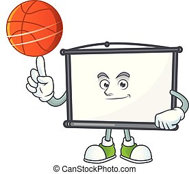 With basketball empty project screen on the mascot vector...