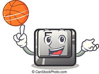 With basketball F button in the character shape vector...