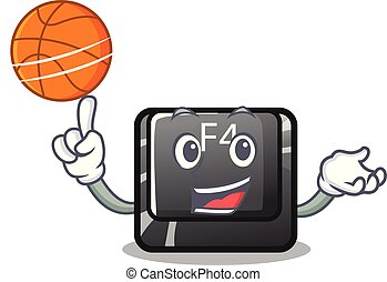With basketball f4 button installed on cartoon keyboard...