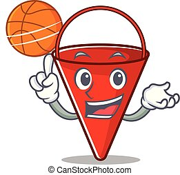 With basketball fire bucket mascot shape on cartoon vector...