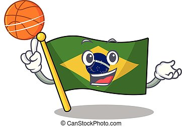 With basketball flag brazil in the cartoon shape vector...