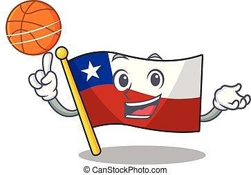 With basketball flag chile cartoon in character shape vector...
