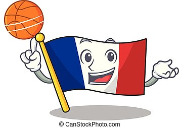 With basketball flag france fluttered on character pole...