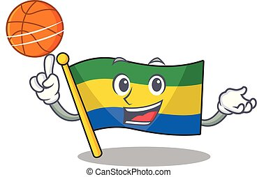 With basketball flag gabon with the cartoon shape vector...