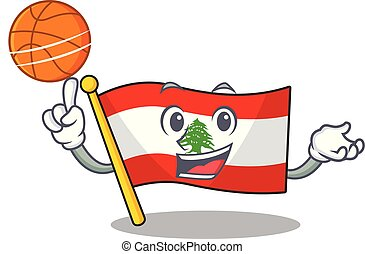 With basketball flag lebanon mascot isolated the cartoon...